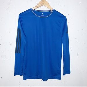 Adidas Youth Long Sleeve Logo Workout Sport Top Size XL Blue